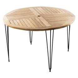 Table Métal Teck Ronde